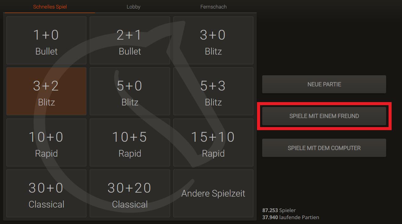 Schach Online Zu Zweit Spielen - Lichess Schritt 1